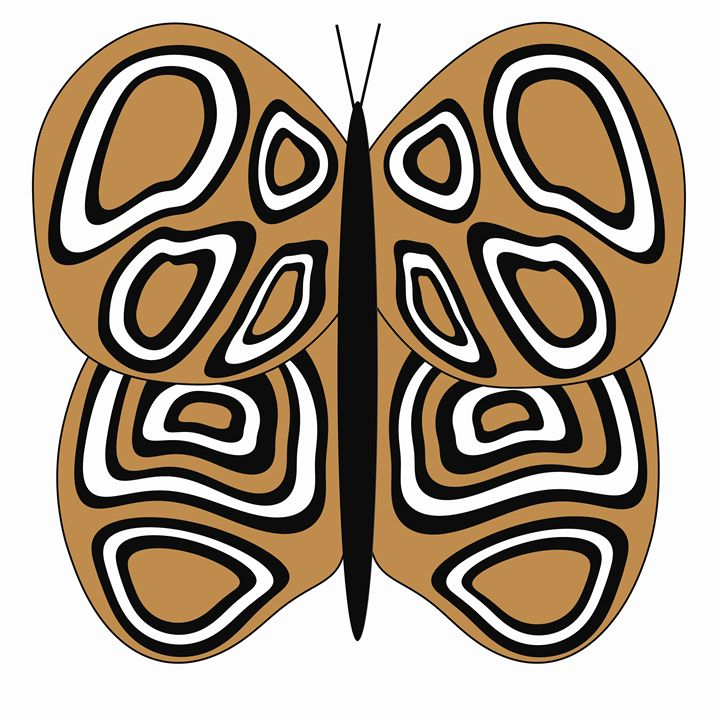Tan and White Buttefly on White - Laura Nybeck's Art