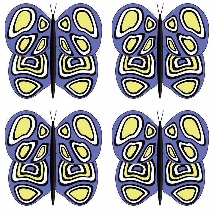 Blue-Yellow-White Lg Butterflies - Laura Nybeck's Art