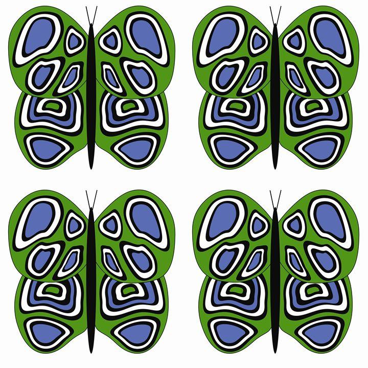 Green-Blue-White Lg Butterflies - Laura Nybeck's Art