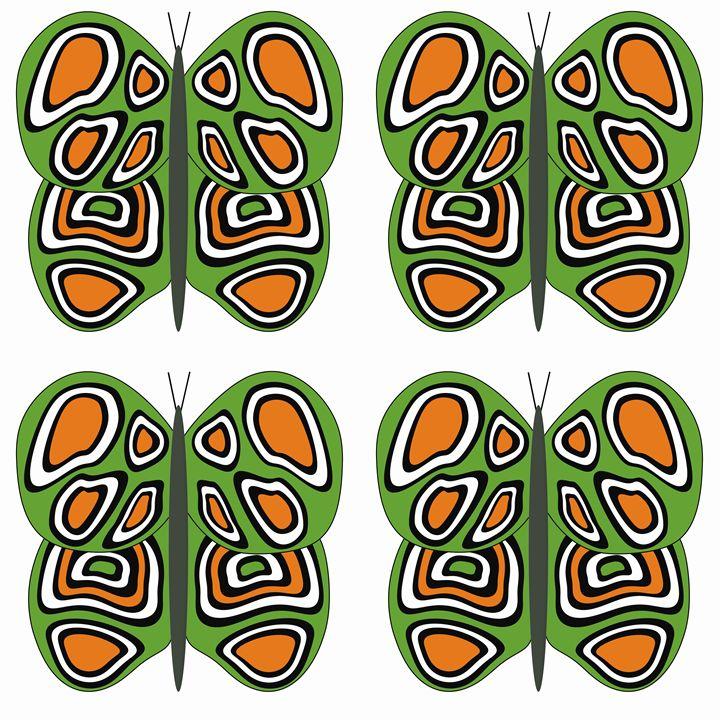 Green-Orange-White Lg Butterflies - Laura Nybeck's Art