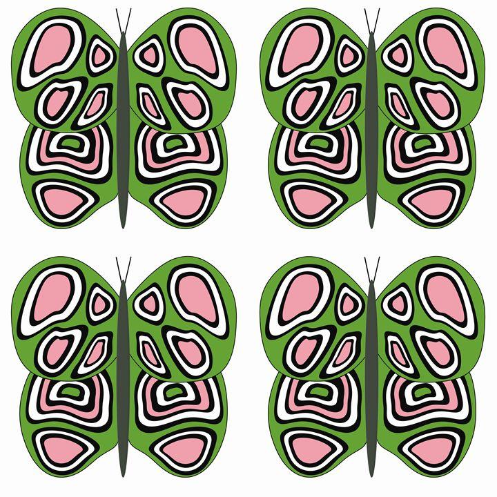 Green-Pink-White Lg Butterflies - Laura Nybeck's Art