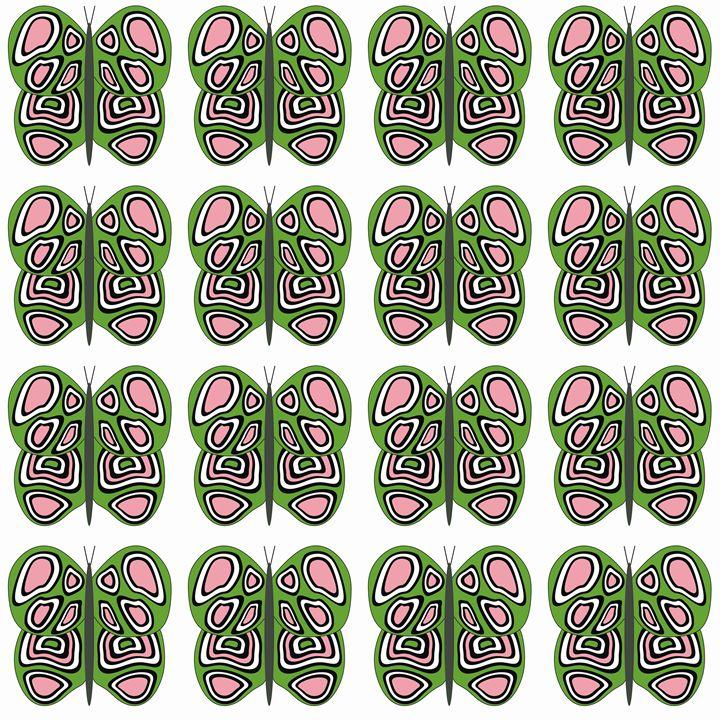 Green-Pink-White Med Butterflies - Laura Nybeck's Art