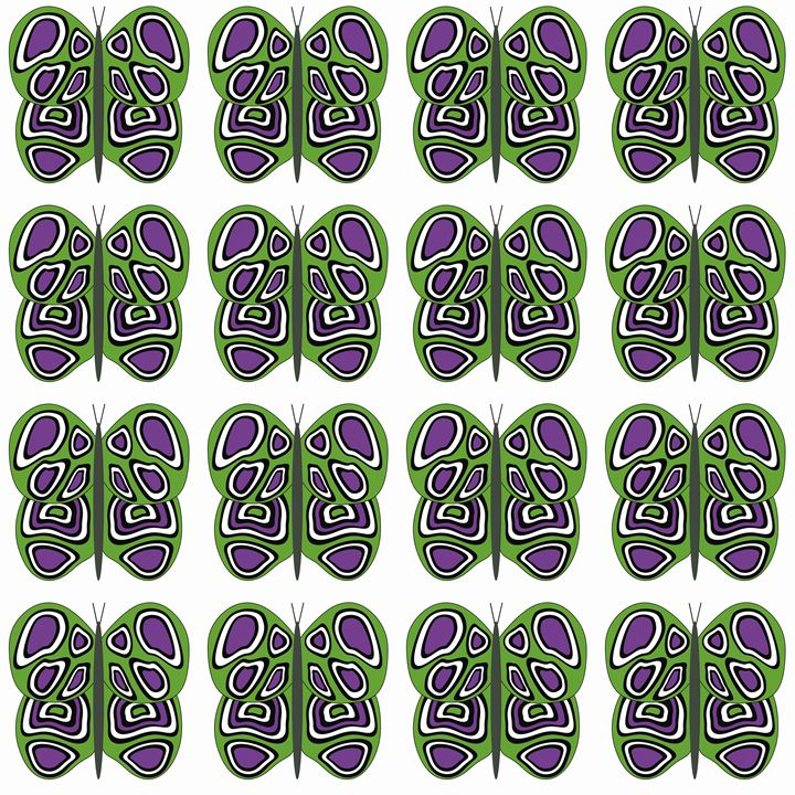 Green-Purple-White Med Butterflies - Laura Nybeck's Art