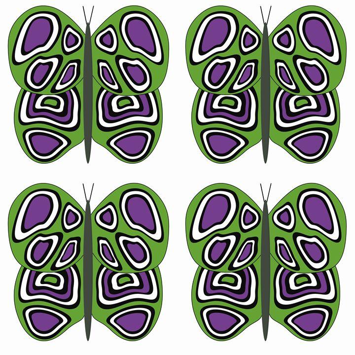 Green-Purple-White Lg Butterflies - Laura Nybeck's Art