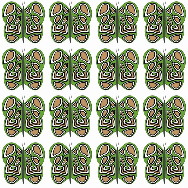 Green-Brown-White Med Butterflies - Laura Nybeck's Art