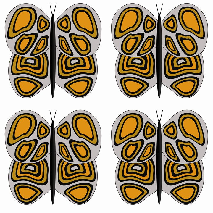 Grey-Orange-Tan Lg Butterflies - Laura Nybeck's Art