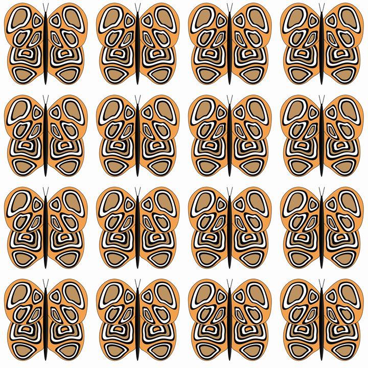 Orange-Brown-White Med Butterflies - Laura Nybeck's Art