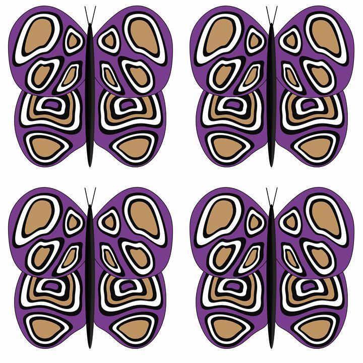 Purple-Tan-White Lg Butterflies - Laura Nybeck's Art