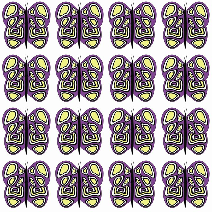 Purple-Yellow-White Med Butterflies - Laura Nybeck's Art