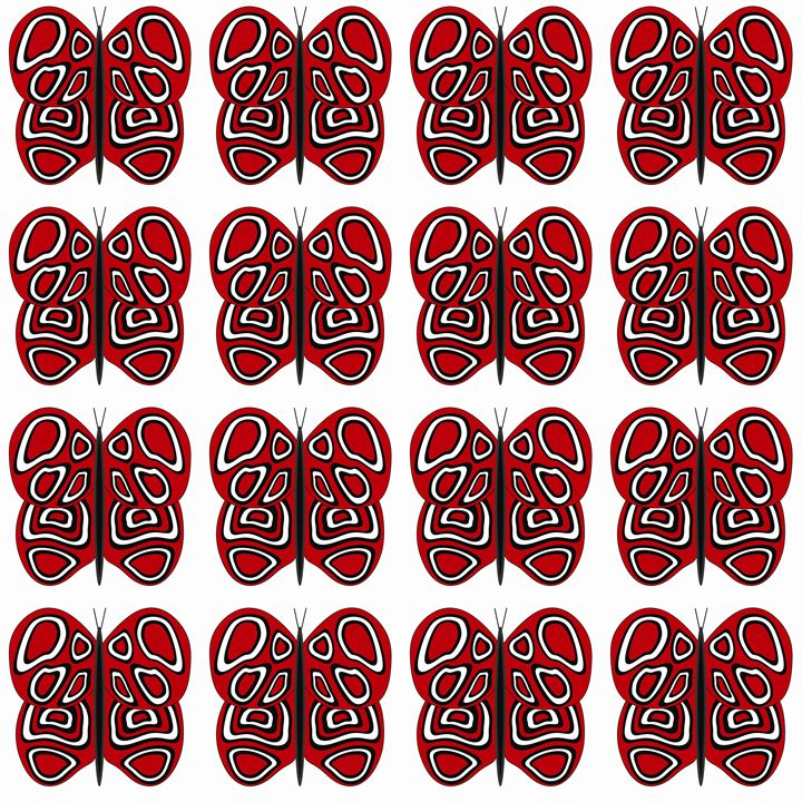 Red and White Medium Butterflies - Laura Nybeck's Art