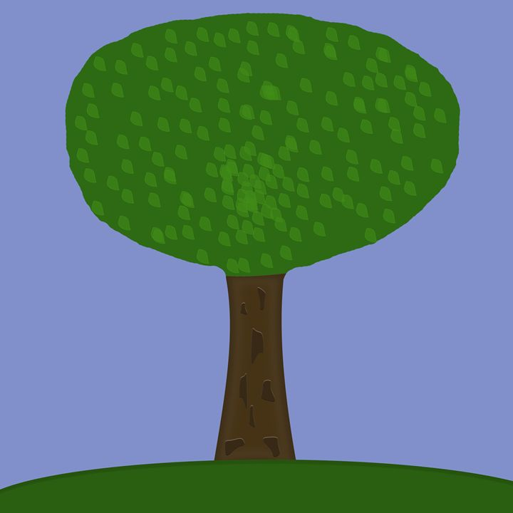 Tree With Greeen Leaves on Hill - Laura Nybeck's Art