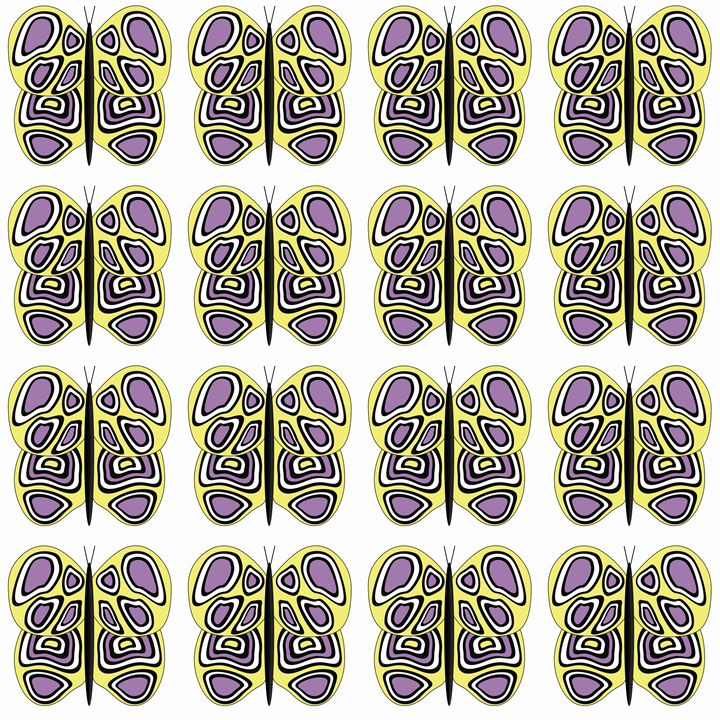 Yellow-Purple-White Butterflies Med - Laura Nybeck's Art