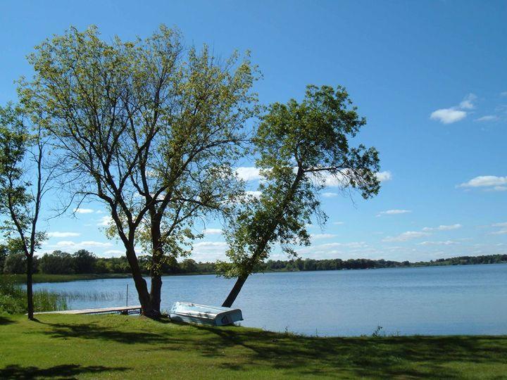 Lake Scene With Boat - Laura Nybeck's Art