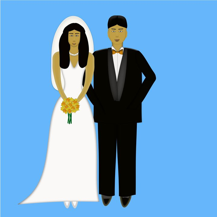 Hispanic Bride and Groom on Blue - Laura Nybeck's Art