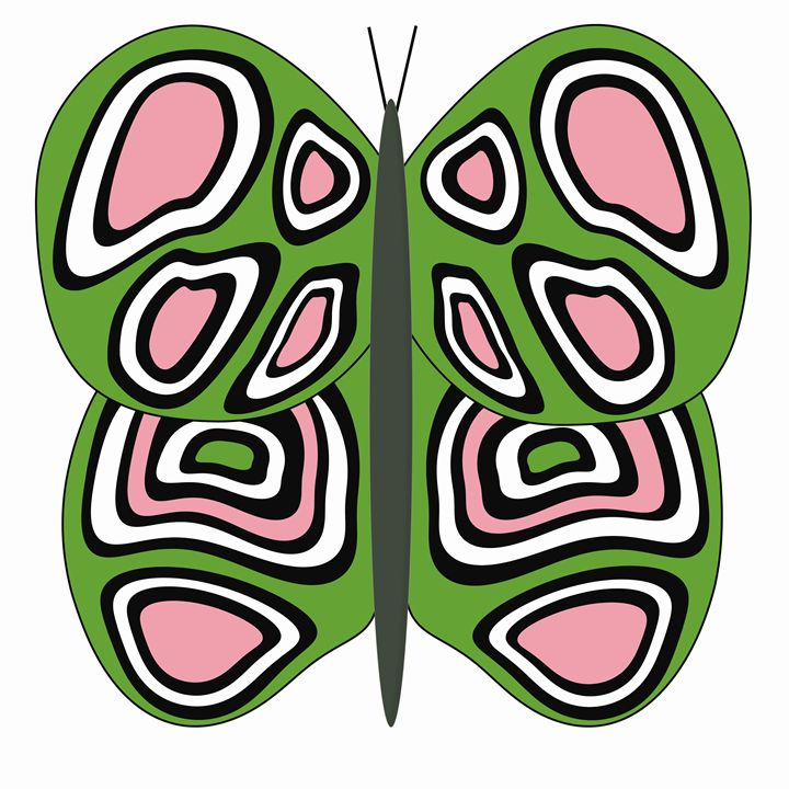 Green, Pink and White Butterfly - Laura Nybeck's Art