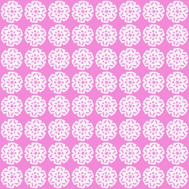 White Snowflake Pattern on Pink - Laura Nybeck's Art