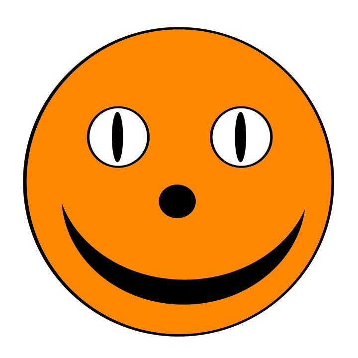 Dark Orange Happy Face - Laura Nybeck's Art