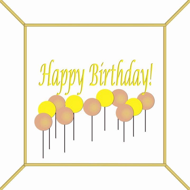 Peach and Yellow Birthday Cake Top - Laura Nybeck's Art