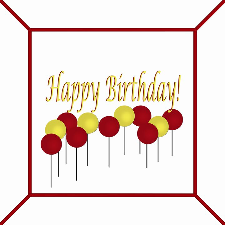 Red and Yellow Birthday Cake Top - Laura Nybeck's Art