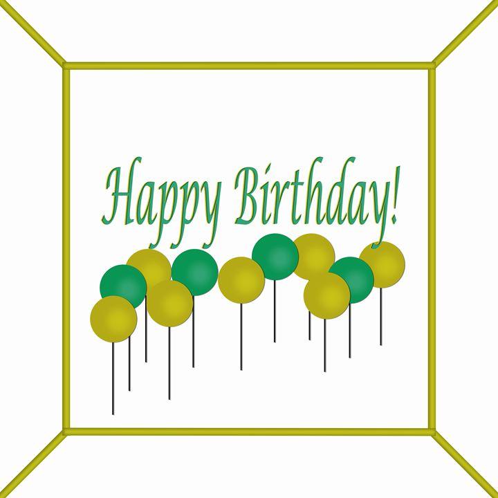 Green and Yellow Birthday Cake - Laura Nybeck's Art