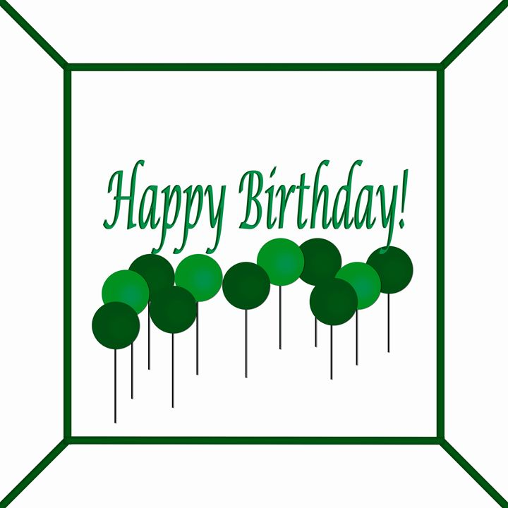 Green Two Colors on White Birthday - Laura Nybeck's Art