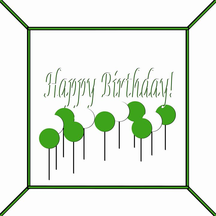 Green and White Happy Birhtday Cake - Laura Nybeck's Art