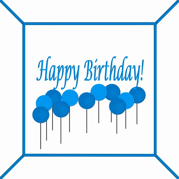 Blue and White Happy Birthday Cake - Laura Nybeck's Art