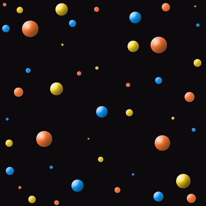 Blue-Orange-Yellow Balls on Black - Laura Nybeck's Art