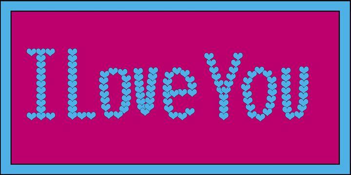 Blue I Love You Hearts on Fuchsia - Laura Nybeck's Art