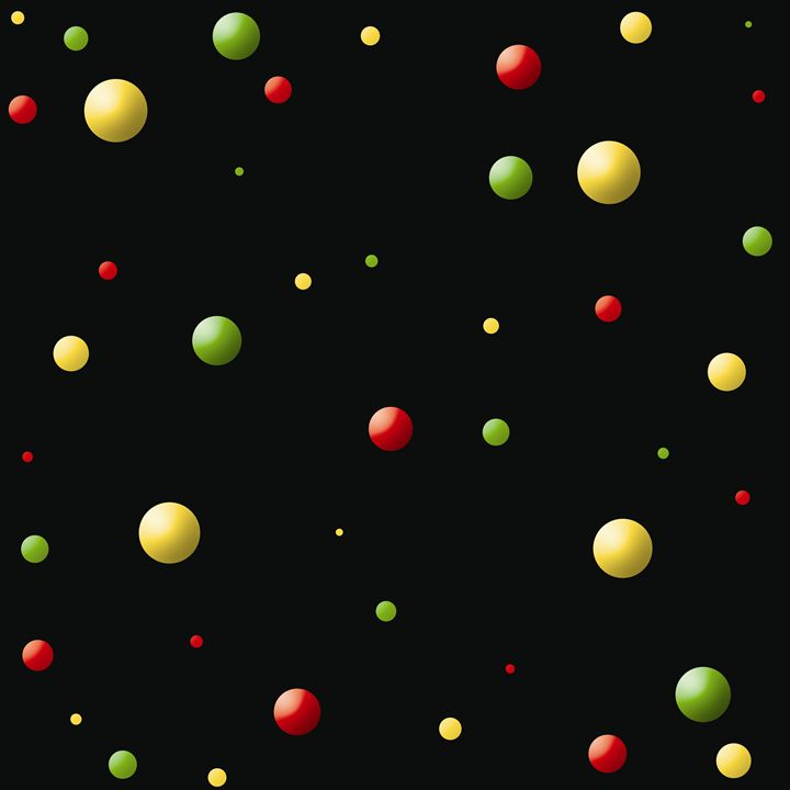 Red-Yellow-Green Balls on Black - Laura Nybeck's Art