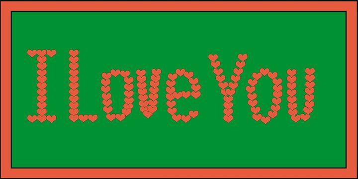 Orange I Love You Hearts on Green - Laura Nybeck's Art