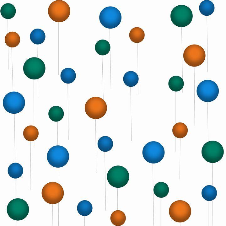 Orange-Blue-Dark Teal Balloons - Laura Nybeck's Art