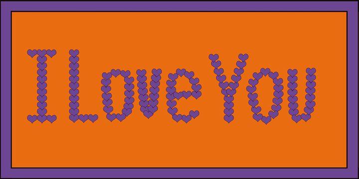 Purple I Love You Hearts on Orange - Laura Nybeck's Art