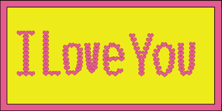 Pink I Love You Hearts on Yellow - Laura Nybeck's Art