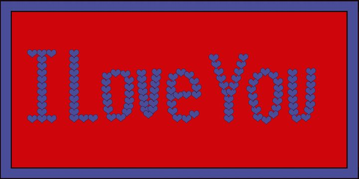 Blue I Love You Hearts on Red - Laura Nybeck's Art