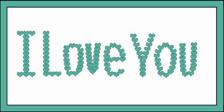 Green I Loe You Hearts on White - Laura Nybeck's Art