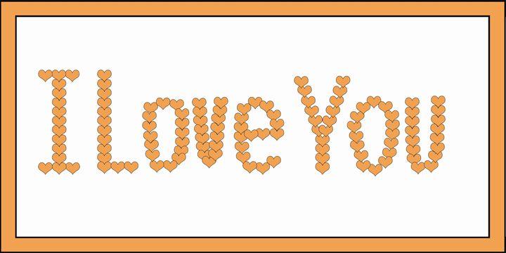 Orange I Love You Hearts on White - Laura Nybeck's Art