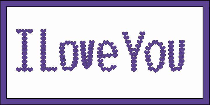 Purple I Love You Hearts on White - Laura Nybeck's Art