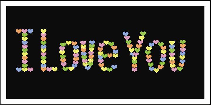 I Love You Pastels on Black - Laura Nybeck's Art