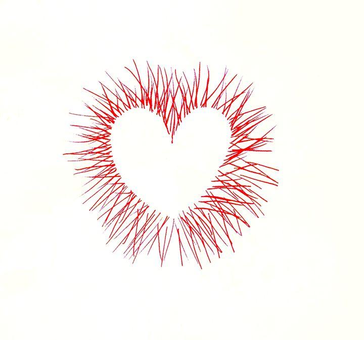 Line Heart Dark orange - Laura Nybeck's Art