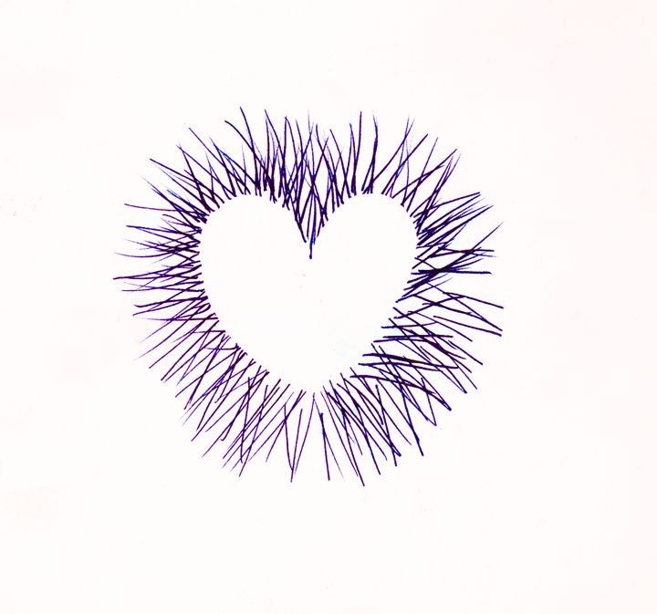Line Heart Dark Purple - Laura Nybeck's Art