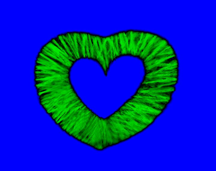 Blue and Neon Green Heart - Laura Nybeck's Art