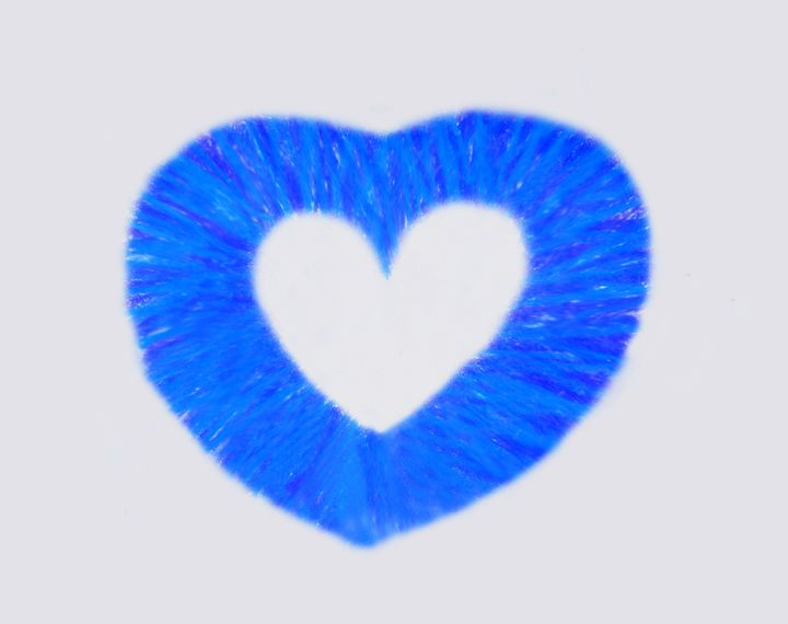 Blue oil crayon Heart on White - Laura Nybeck's Art