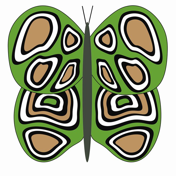 Green, Tan and And White Butterfly - Laura Nybeck's Art
