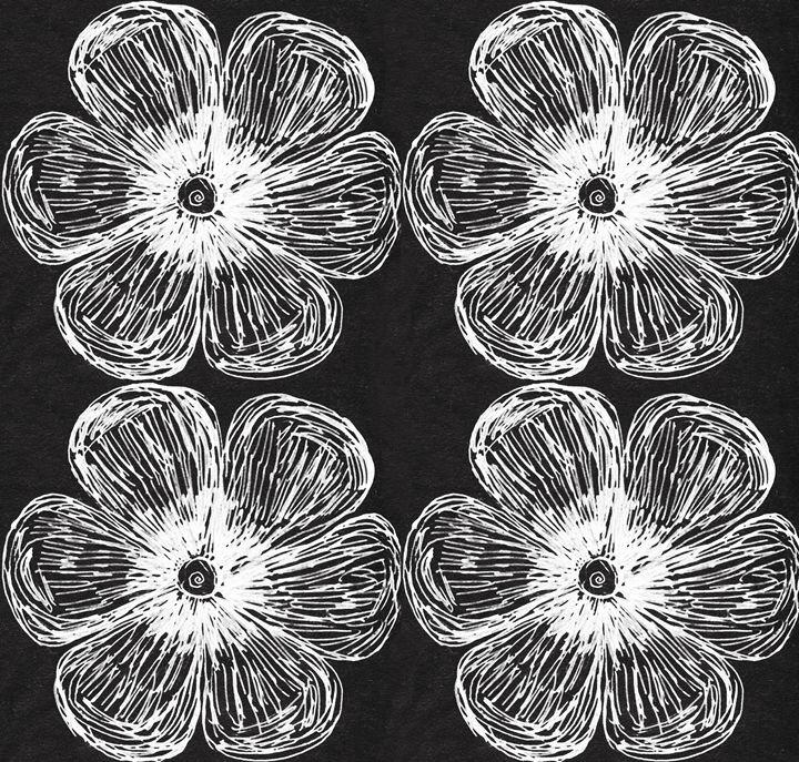 White Flower On Bk Med Pat - Laura Nybeck's Art