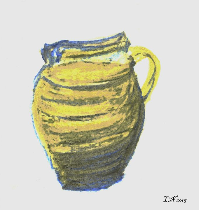 Yellow and Blue Small Pitcher - Laura Nybeck's Art