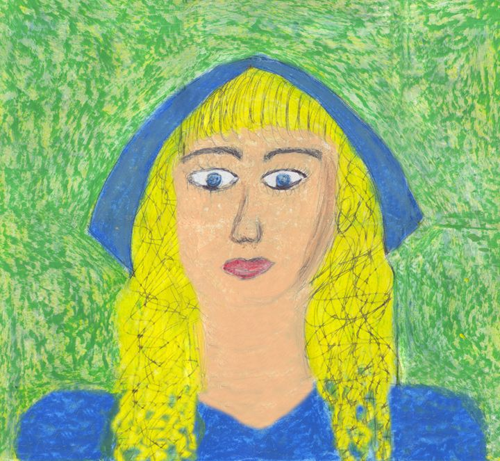 Byzantine Styled Blonde Woman Mary - Laura Nybeck's Art