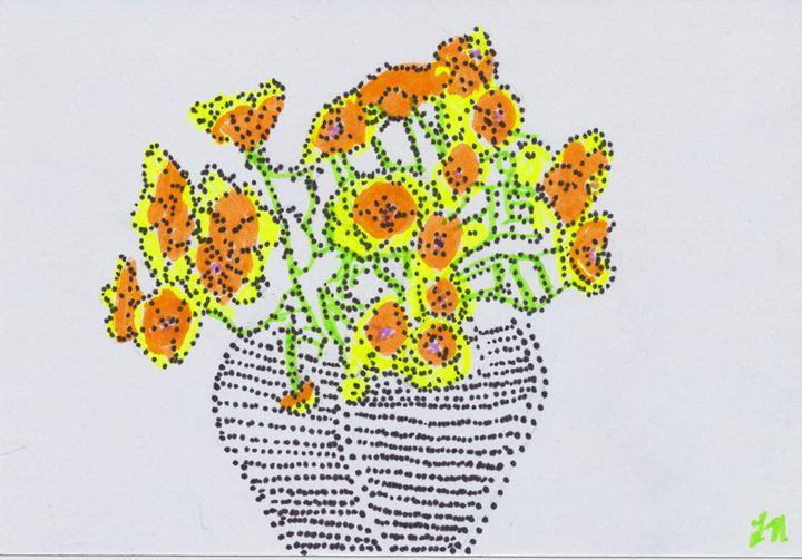Yellow and Orange Flowers Stipple - Laura Nybeck's Art