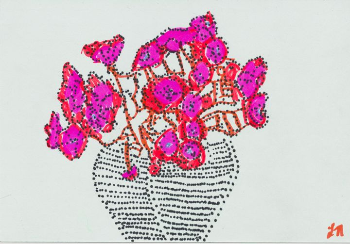 Fushcia and Black Stippled Flowers - Laura Nybeck's Art