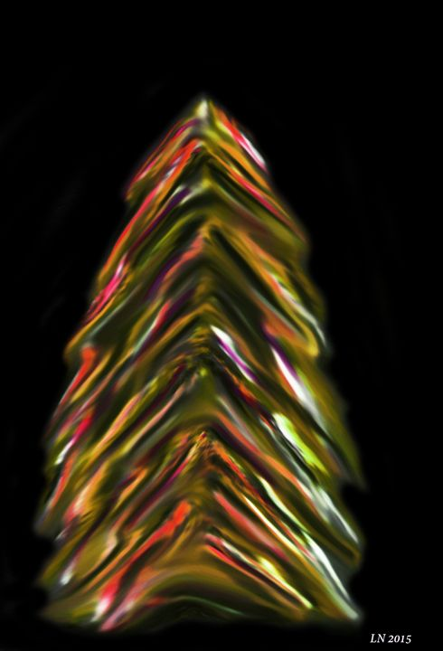 Vibrant Brown Pine Tree on Black - Laura Nybeck's Art